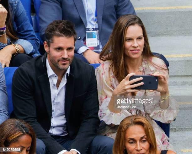 Hilary Swank and Philip Schneider attend the 2017 US Open Women's Final at Arthur Ashe Stadium on September 9 2017 in New York City