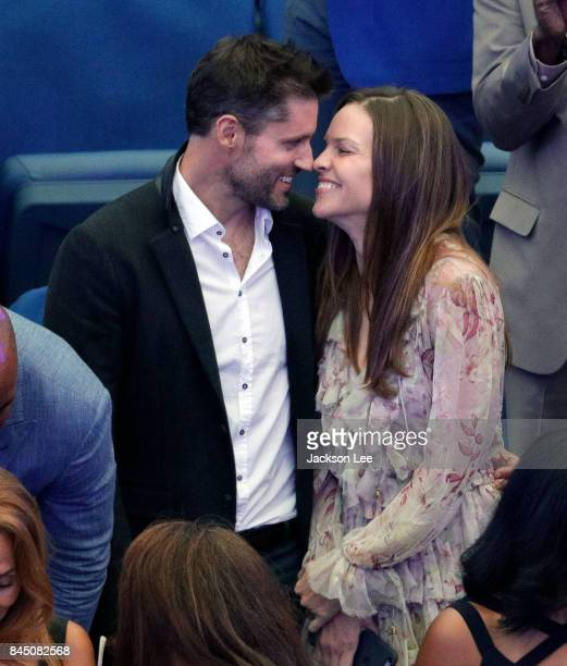 Hilary Swank and Philip Schneider attend the 2017 US Open Women's Finals at Arthur Ashe Stadium on September 9 2017 in New York City
