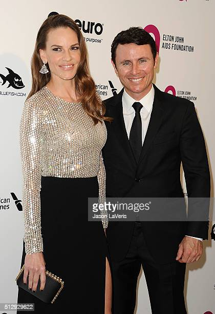 Hilary Swank and Ruben Torres attend the 24th annual Elton John AIDS Foundation's Oscar viewing party on February 28 2016 in West Hollywood California