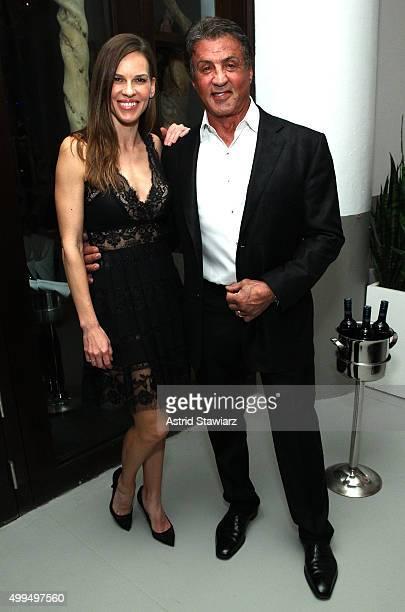 Hilary Swank and Sylvester Stallone attend DuJour Magazine's Jason Binn Celebrates Annual Art Basel Miami Beach KickOff Party at Delano Beach Club on...