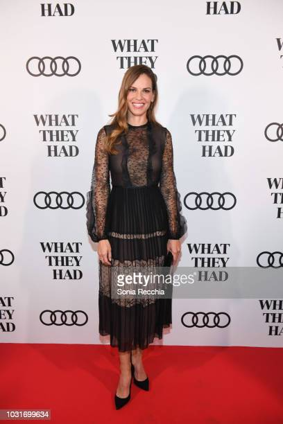 Hilary Swank attends Audi Canada hosts Hilary Swank in celebration of What They Had during the Toronto International Film Festival at MIRA on...