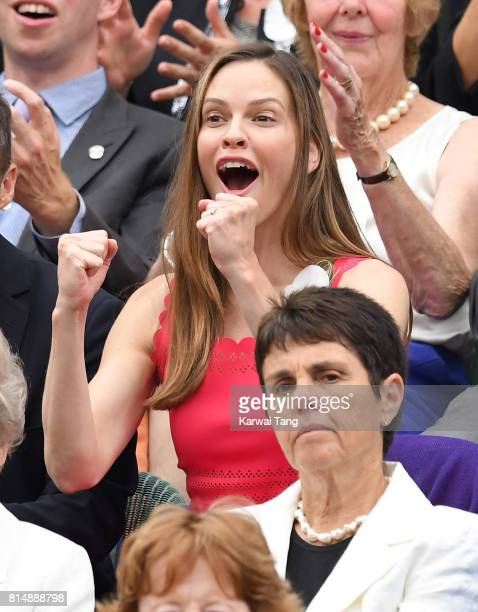 Hilary Swank attends day twelve of the Wimbledon Tennis Championships at the All England Lawn Tennis and Croquet Club on July 15 2017 in London...