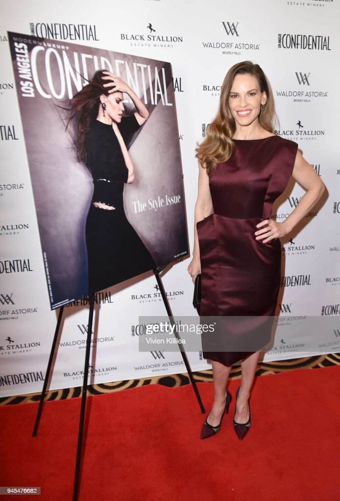 Hilary Swank attends Los Angeles Confidential magazine celebrates its Women of Influence issue with cover star Hilary Swank at Waldorf Astoria Beverly Hills on April 12, 2018 in Beverly Hills, California.