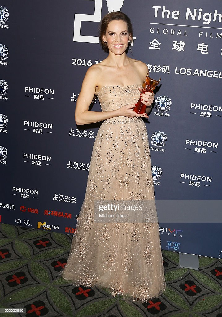 Hilary Swank attends the 21st Annual Huading Global Film Awards - press room held at The Theatre at Ace Hotel on December 15, 2016 in Los Angeles, California.