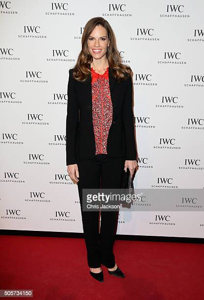 Hilary Swank attends the IWC Come Fly with us Gala Dinner during the launch of the Pilot's Watches Novelties from the Swiss luxury watch manufacturer...