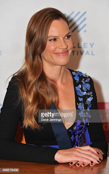 Hilary Swank attends the opening night press conference for the Mill Valley Film Festival on October 2 2014 in Mill Valley California Sharp is...