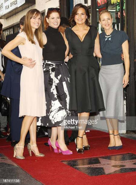 Hilary Swank Debra Messing Mariska Hargitay and Maria Bello attend the ceremony honoring Mariska Hargitay with a Star on The Hollywood Walk of Fame...