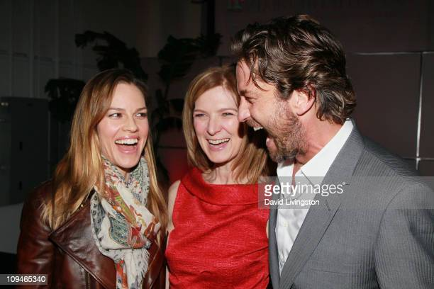 Hilary Swank Executive Director of Film Independent Dawn Hudson and Gerard Butler attend the 2011 Film Independent Spirit Awards Voter Party at Santa...