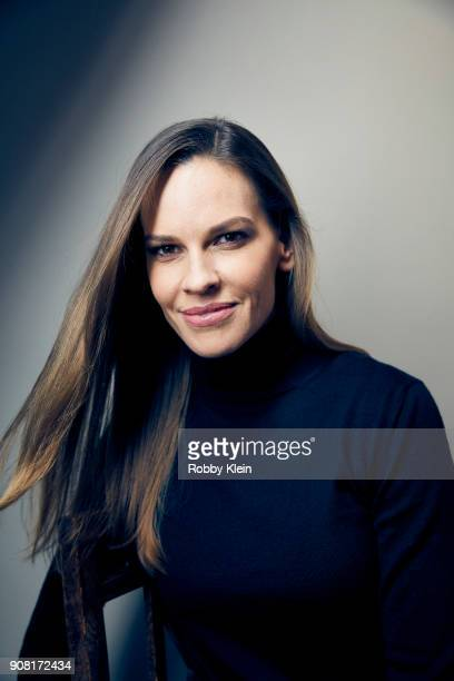 Hilary Swank from the film 'What They Had' poses for a portrait at the YouTube x Getty Images Portrait Studio at 2018 Sundance Film Festival on...