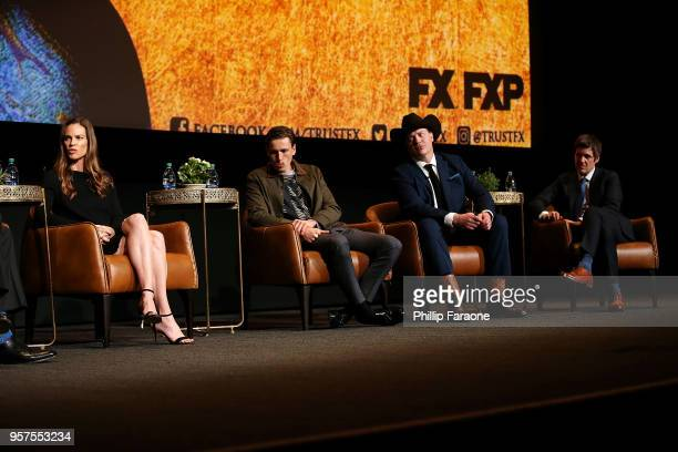 Hilary Swank Harris Dickinson Brendan Fraser and Michael Esper speak onstage during the For Your Consideration Event for FX's 'Trust' at Saban Media...