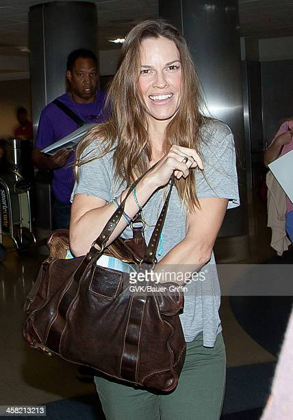Hilary Swank is seen at Los Angeles International Airport on July 24 2013 in Los Angeles California