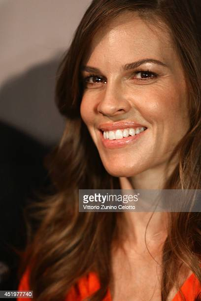 Hilary Swank is seen backstage ahead of the Marc Cain show during the MercedesBenz Fashion Week Spring/Summer 2015 at Erika Hess Eisstadion on July...
