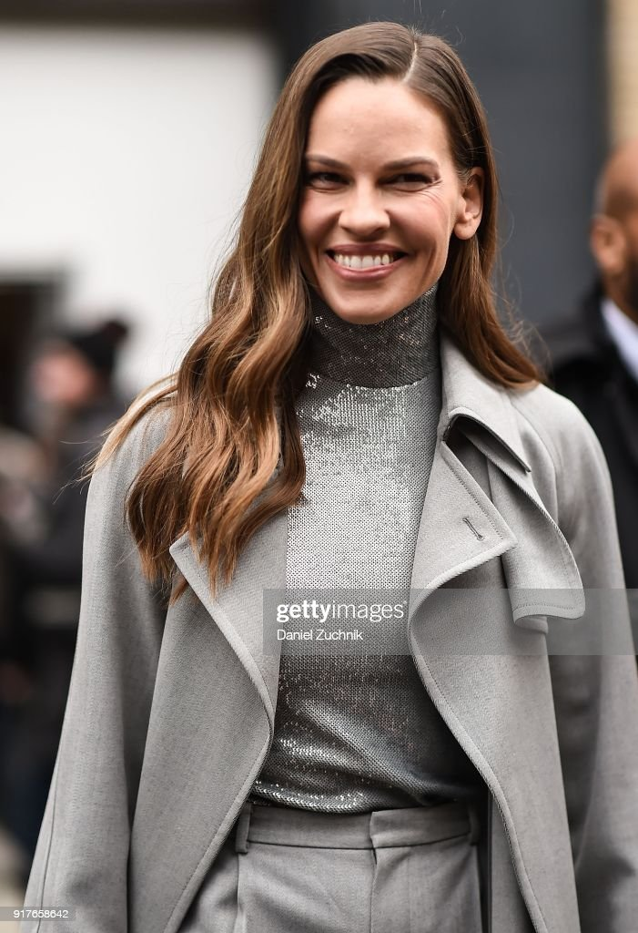 Hilary Swank is seen outside the Ralph Lauren show during New York Fashion Week: Women's A/W 2018 on February 12, 2018 in New York City.