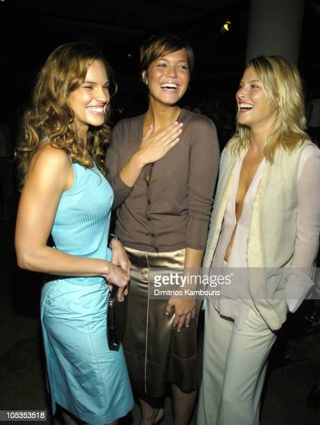 Hilary Swank Mandy Moore and Ali Larter during Olympus Fashion Week Spring 2005 Calvin Klein Front Row at Milk Studios 450 W 15th Street in New York...