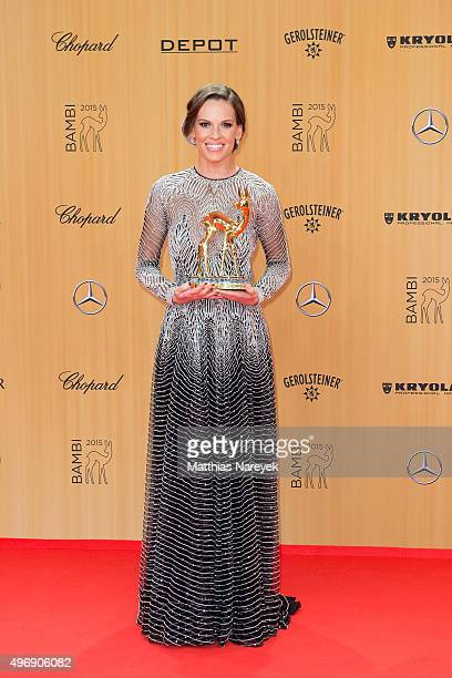 Hilary Swank poses at the Bambi Awards 2015 winners board at Stage Theater on November 12 2015 in Berlin Germany