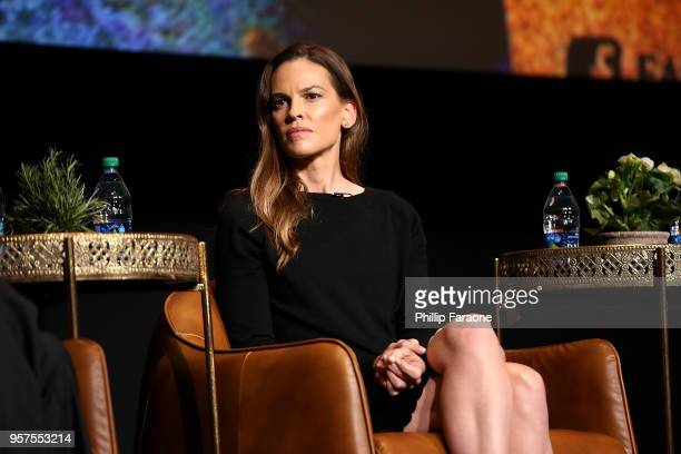 Hilary Swank speaks onstage during the For Your Consideration Event for FX's Trust at Saban Media Center on May 11 2018 in North Hollywood California