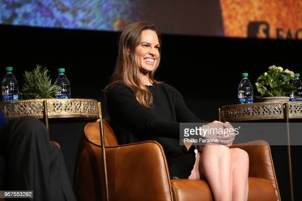 Hilary Swank speaks onstage during the For Your Consideration Event for FX's 'Trust' at Saban Media Center on May 11 2018 in North Hollywood...