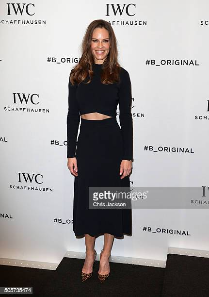 Hilary Swank visits the IWC booth during the launch of the Pilot's Watches Novelties from the Swiss luxury watch manufacturer IWC Schaffhausen at the...
