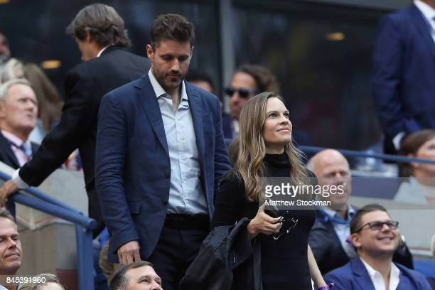 Hilary Swank watches the Men's Singles finals match between Kevin Anderson of South Africa and Rafael Nadal of Spain on Day Fourteen of the 2017 US...