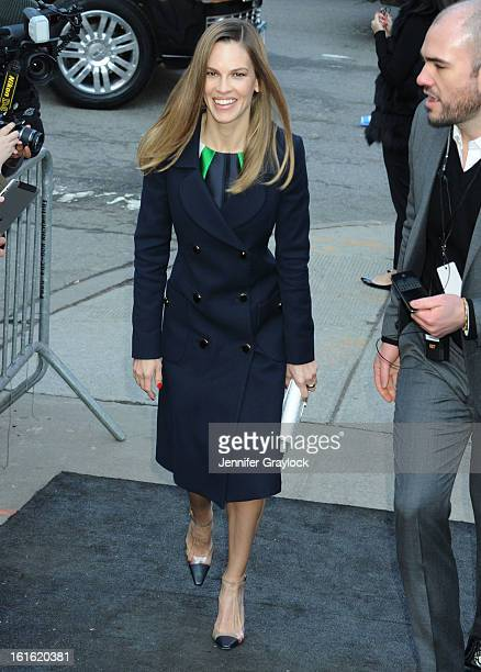 Hilary Swank wearing Michael Kors arrives to the Michael Kors Fall 2013 Mercedes-Benz Fashion Show at The Theater at Lincoln Center on February 13,...