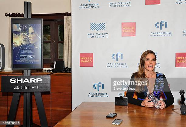 Hilary Swank with a Sharp 4K display at the opening night press conference for the Mill Valley Film Festival on October 2 2014 in Mill Valley...