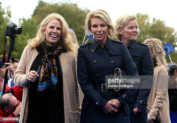 Hilary Watson wife of United States team captain Tom Watson looks on with Allison McGinley wife of Europe team captain Paul McGinley prior to the...