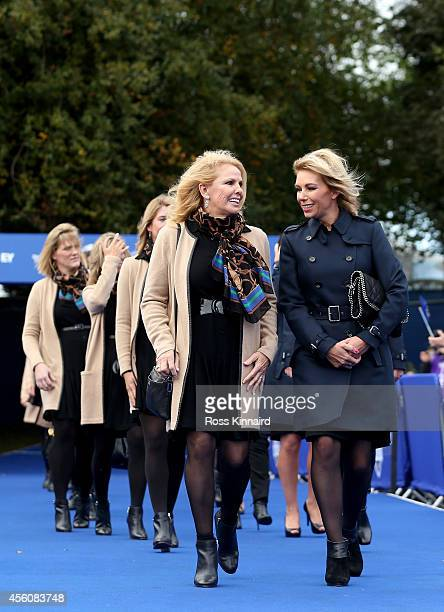 Hilary Watson wife of United States team captain Tom Watson talks to Allison McGinley wife of Europe team captain Paul McGinley prior to the Opening...