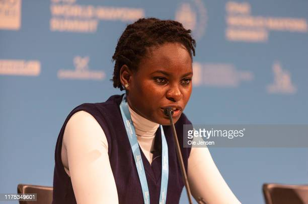Hilda Flavia Nakabuye, climate activists within the Fridays for Future movement, Uganda, during the Mayors and Youth Activist press conference at the...