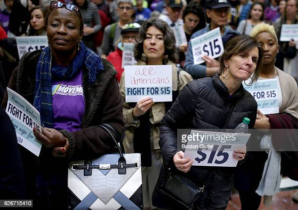 Hilda Haye left and Lisa Murphy right who are from Cape Cod take part in a National Day of Action 15 dollar per hour minimum wage protest at the...