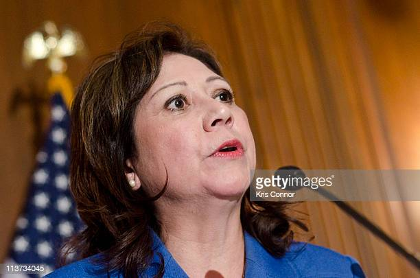 Hilda L Solis speaks during the National Museum of the American Latino final report press conference at the US Capital Mansfield Room on May 5 2011...