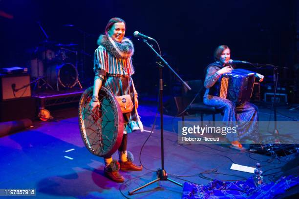 Hilda Lansman and Maria Saarenkyla of Vildá perform at Tramway Glasgow during Celtic Connections 2020 on January 31, 2020 in Glasgow, Scotland.