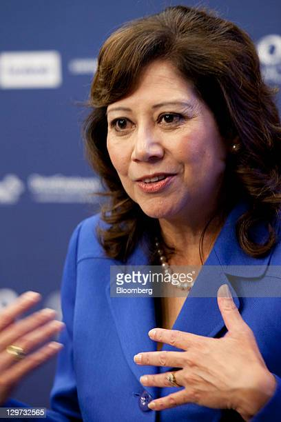 Hilda Solis US secretary of labor speaks during a news conference at the Department of Labor in Washington DC US on Thursday Oct 20 2011 Facebook Inc...
