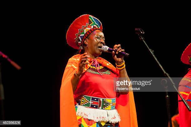 Hilda Tloubatla of Mahotella Queens performs on stage for Mandela Day Concert at Edinburgh Jazz Blues Festival at Festival Theatre on July 18 2014 in...