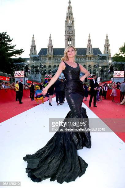 Hilde Dalik arrives for the Life Ball 2018 at City Hall on June 2 2018 in Vienna Austria The Life Ball an annual charity event raising funds for HIV...