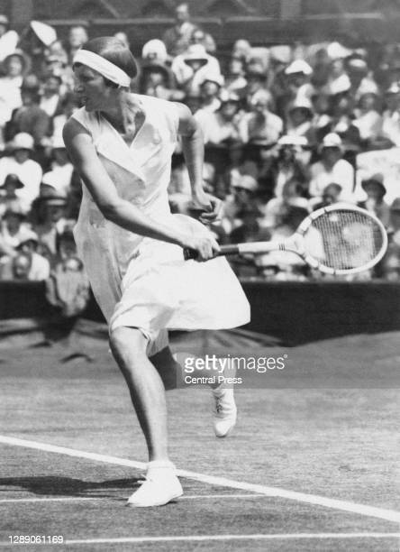 Hilde Krahwinkel of Germany serves to Helen Moody of the United States during their Women's Singles Semi Final match at the Wimbledon Lawn Tennis...