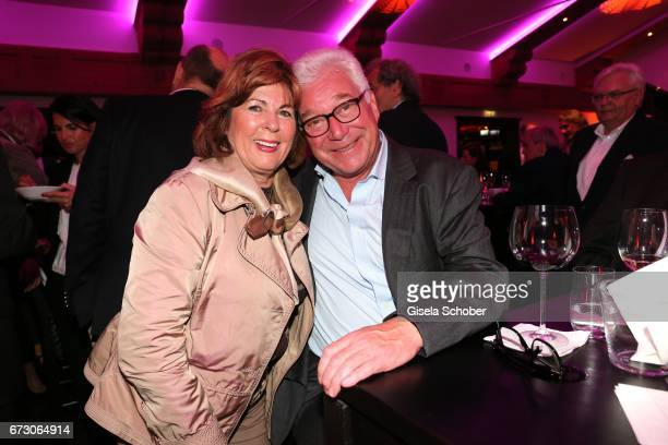Hilde Sempert and butcher Magnus Bauch during the piano night hosted by Wempe and Glashuette Original at Gruenwalder Einkehr on April 25 2017 in...