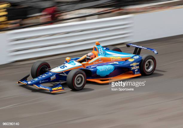 Hildebrand driver of the Salesforce DRR Chevrolet on the track during his qualifying run for the 2018 Indianapolis 500 at the Indianapolis Motor...