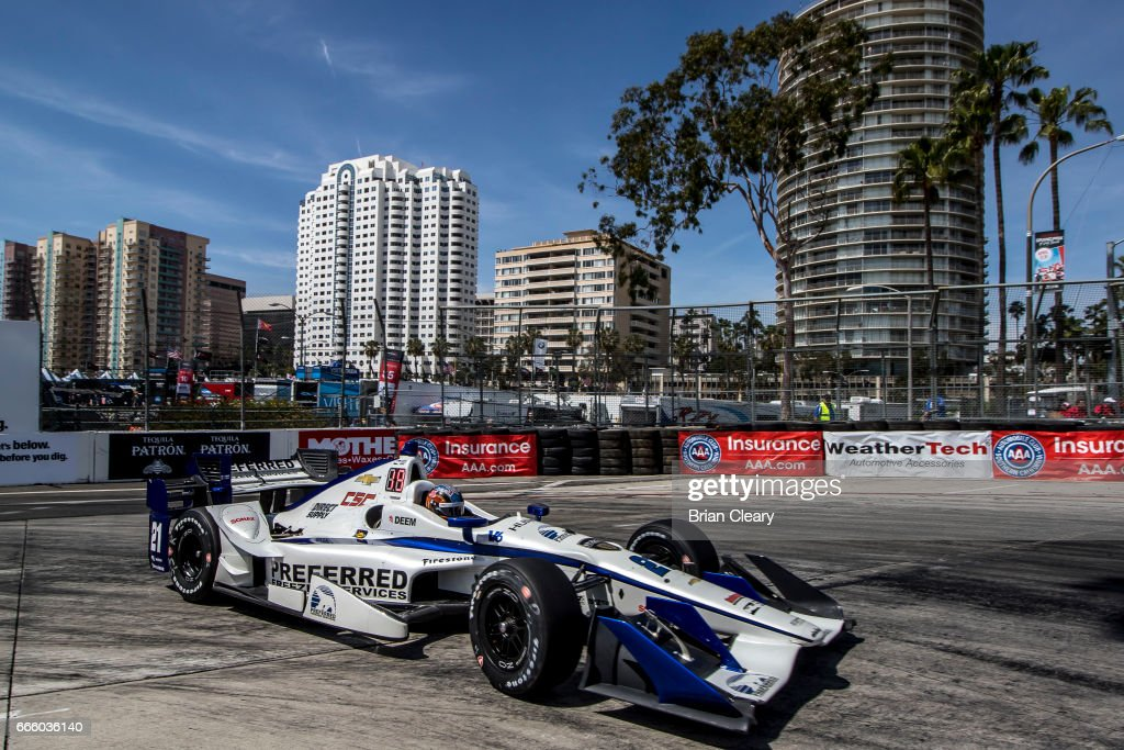 JR Hildebrand drives the #21 Chevrolet IndyCar on the track during practice for the Grand Prix At Long Beach on April 7, 2017 in Long Beach, California.