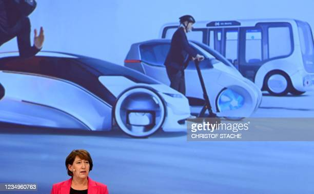 Hildegard Mueller, President of the Association of the German Automotive Industry, adreeses the medias during a press conference on the upcoming 2021...