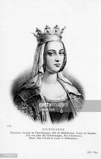 Hildegard of Vinzgouw portrait Second wife of Charlemagne bearing him nine children 758 – 30 April 783 Caption reads 'Second wife of Charlemagne...