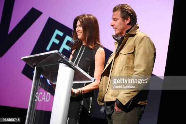 Hildi SantoTomas and Ty Pennington speak onstage during the Spotlight Award Presentation on Day 2 of the SCAD aTVfest 2018 on February 2 2018 in...