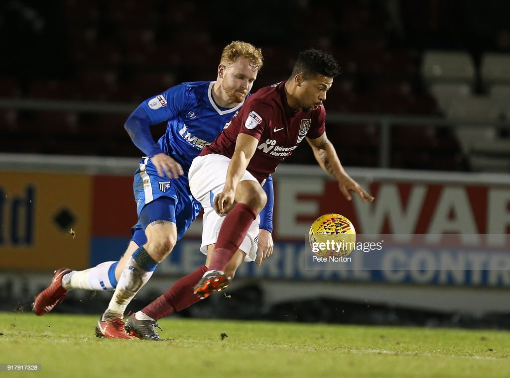 Hileberto Pereira of Northampton Town attempts to control the ball during the Sky Bet League One match between Northampton Town and Gillingham at Sixfields on February 13, 2018 in Northampton, England.