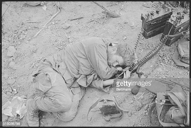 Hill 875 South Vietnam The tumult of the battle over Sgt John G Sheehan of Boston Mass radio still attached on and pressed to his ear takes...