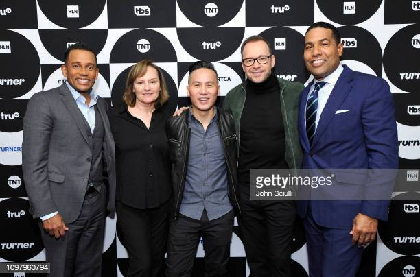 Hill Harper Donnie Wahlberg Nancy Duffy BD Wong and Joey Jackson pose in the green room during the TCA Turner Winter Press Tour 2019 at The Langham...