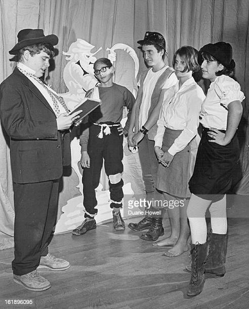 Hill Junior High Schools Students Rehearse For Production Of Li'l Abner; From left, Dennis King, 170 S. Holly St., is Marryin' Sam; Jeff Marcus,...