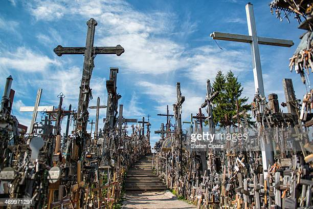 hill of crosses | lithuania - lithuania stock pictures, royalty-free photos & images