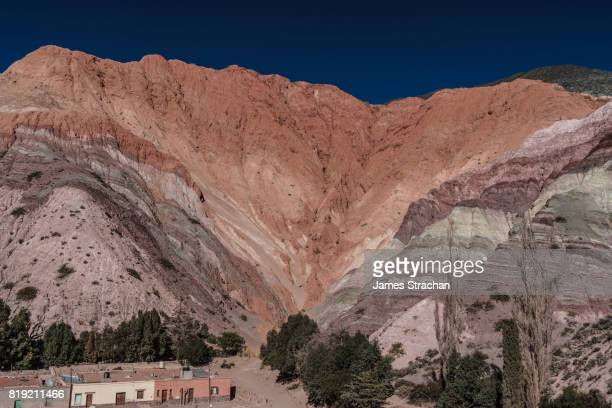 Hill of Seven Colours against rich blue sky, Purmamarca, NW Argentina