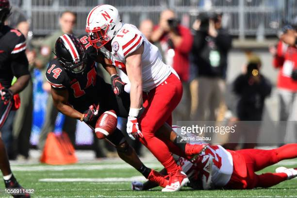 J Hill of the Ohio State Buckeyes fumbles the ball after a pass reception as he is tackled by Luke Gifford of the Nebraska Cornhuskers in the second...