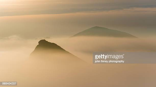 Hill tops in the mist. Derbyshire, peak district.