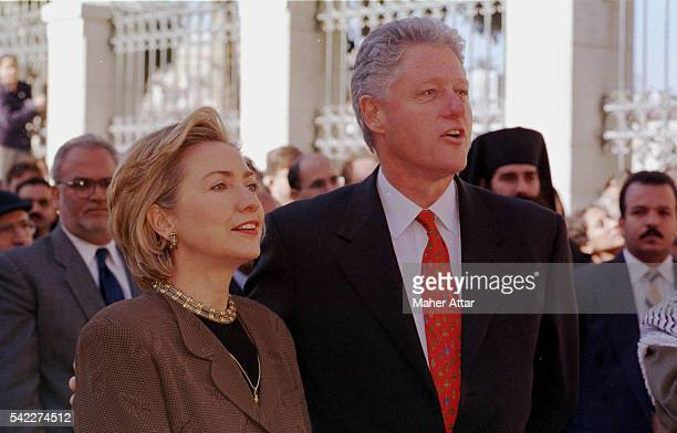 Hillary and Bill Clinton leaving the Basilica of the Nativity in Bethlehem